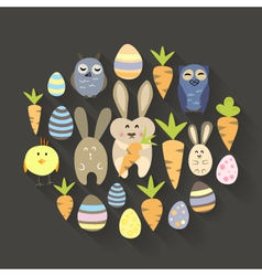 Easter eggs birds rabbits and carrots icons set vector