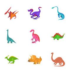 funny dinosaur icons set cartoon style vector image vector image