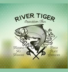 Golden dorado fishing emblem on blur background vector