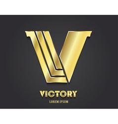 Golden Letter V from alphabet symbol of victory vector image