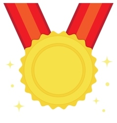 Golden medal in flat style vector