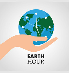 hand holding clock earth hour vector image