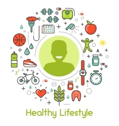 Healthy lifestyle line art thin icons vector