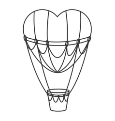 Hear hot air balloon icon vector
