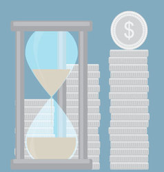 Hourglass with silver coin stock time is money vector