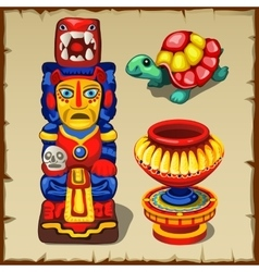 Mayan totem the turtle and decorative vase vector
