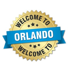 Orlando 3d gold badge with blue ribbon vector