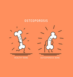Osteoporosis cartoon bone vector