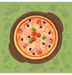 Pizza on the cutting board pizza menu concept vector