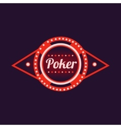 Poker red neon sign vector
