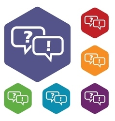Question answer hexagon icon set vector