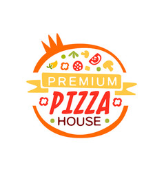 Round flat pizza house logo template concept with vector