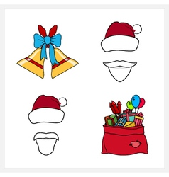 Set of christmas line style icons vector