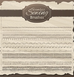 set of seamless sewing borders vector image