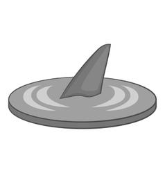 Shark fin icon gray monochrome style vector