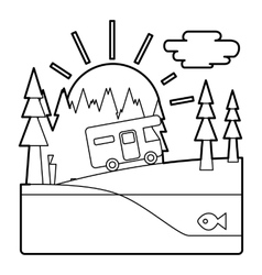 Trip by camper in forest concept outline style vector image vector image