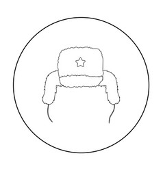 ushanka icon in outline style isolated on white vector image vector image