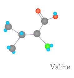 Valine 3d molecule chemical science cartoon style vector