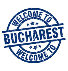 Welcome to bucharest blue stamp vector