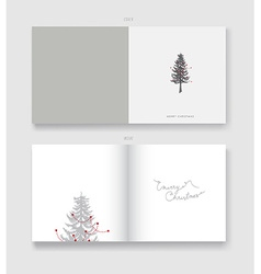 Christmas greeting card template with pine vector image