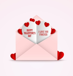 Valentines card in an envelope and red hearts vector