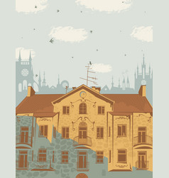landscape with the roofs of the old town vector image