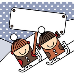 Ice skating kids with billboard vector image