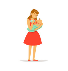 Beautiful young mother in red dress holding her vector