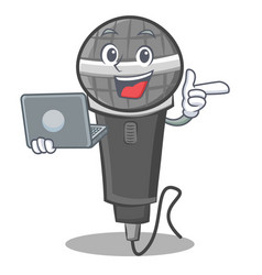 With laptop microphone cartoon character design vector