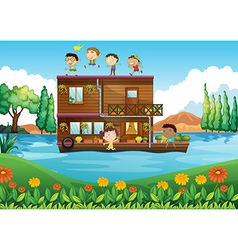A wooden house in the middle of the river with vector