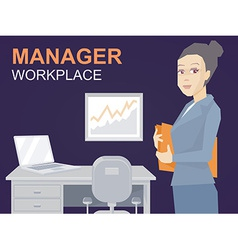 Portrait of a woman manager keeps a folder w vector
