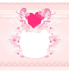 Happy valentines day vintage card with cupids and vector
