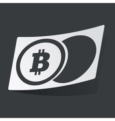 Monochrome bitcoin coin sticker vector