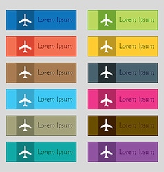 Airplane icon sign set of twelve rectangular vector