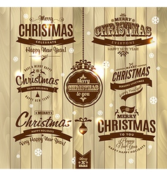 Christmas and happy new year lettering vector
