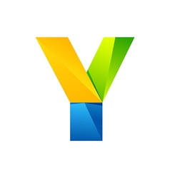 Y letter one line colorful logo design template vector