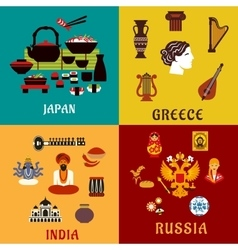 Japan Russia India and Greece flat icons vector image