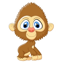 Cartoon monkey cute posing vector