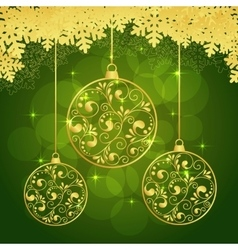 snowflakes green background vector image