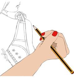 Woman draws underwear vector