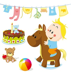 baby on rocking horse vector image vector image