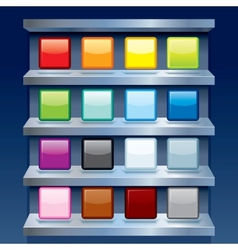 Blank Colorful Apps Icons on Metal Shelfs vector image