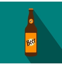 Bottle of beer flat icon vector