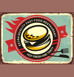 burgers vintage tin sign vector image