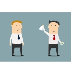 Businessman leaving his competitor without money vector