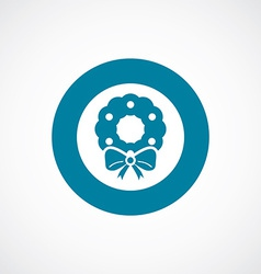 Christmas wreath icon bold blue circle border vector