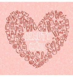 Doodle cosmetic products heart shaped background vector