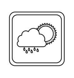emblem cloud rainning with sun icon vector image vector image