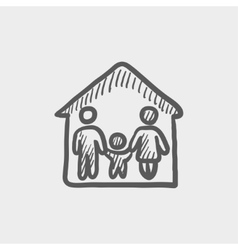Family house sketch icon vector