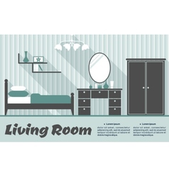 Flat living room interior vector image vector image